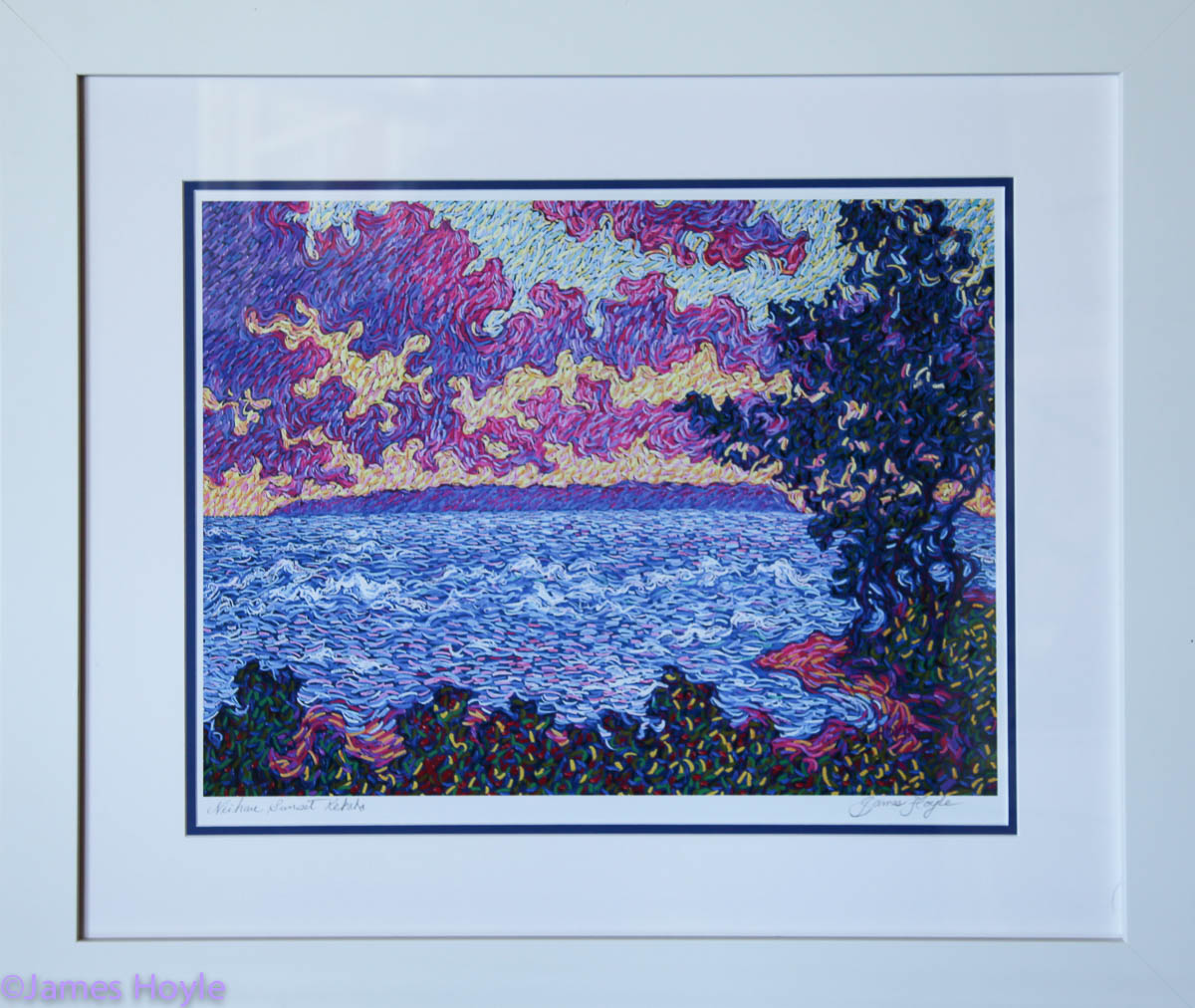 Niihau Sunset - titled and signed on photo archival paper with double mat in white frame.
