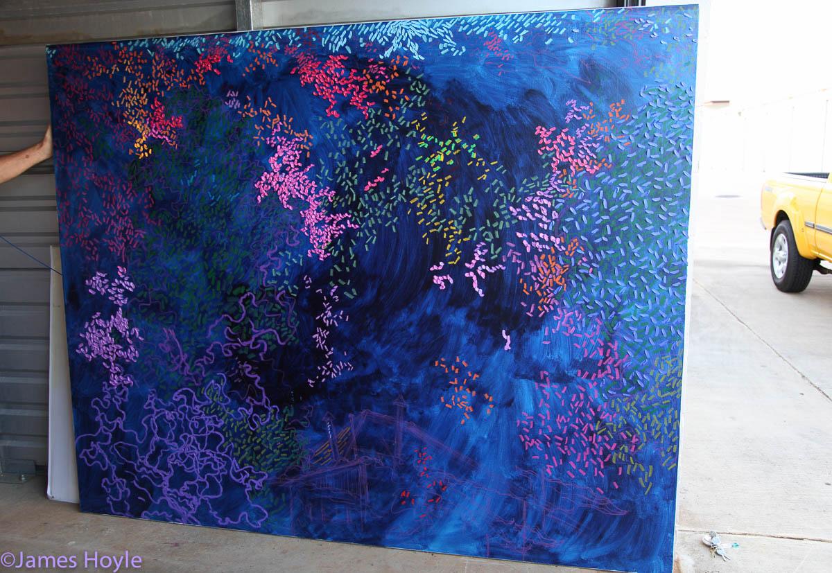 """Original 72""""x90"""" Oil & Oil Pastel Price - not yet determined Close Up - Evening Bougainvillea Close Up - Impasto Technique -..."""