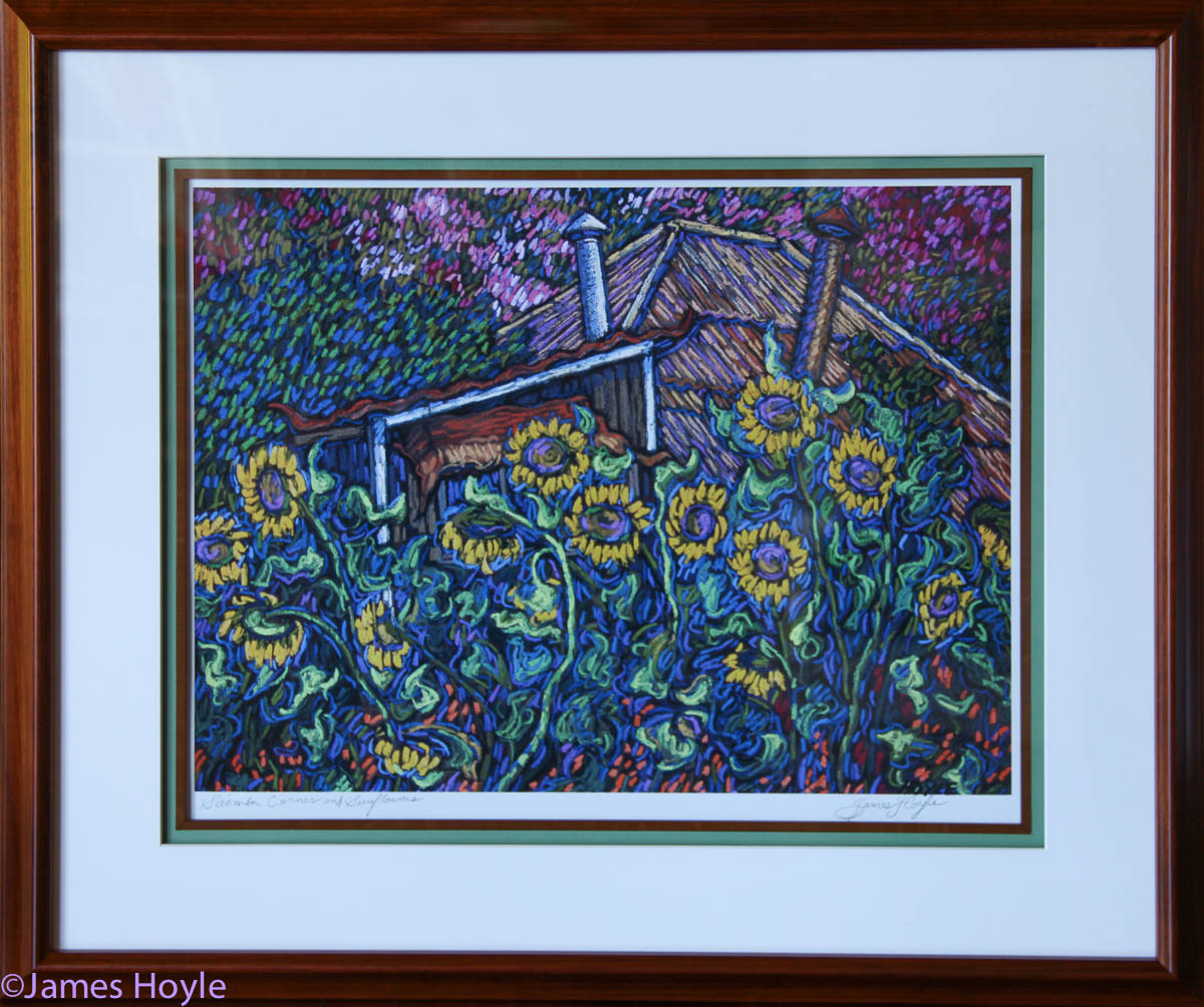 Image-Saimin Corner with Sunflowers - open edition, titled and signed on archival photo paper in Koa frame with double mat and...