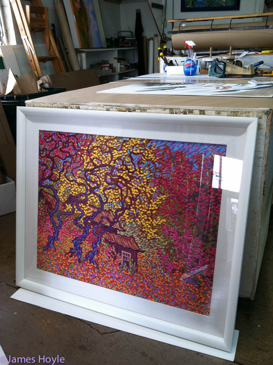 Hanapepe Spring & Gold Tree, Open Edition, Hand Painted Fine Art Graphic/Giclée on canvas